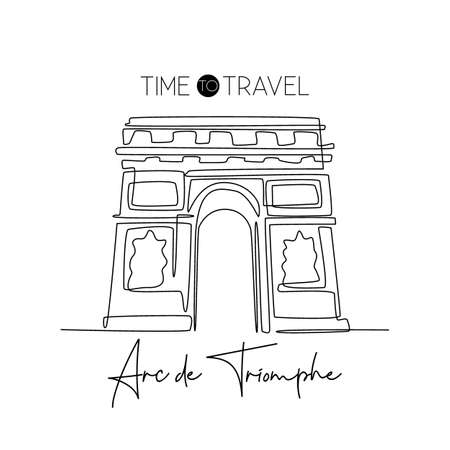 Single one line drawing of welcome to Arc de Triomphe landmark. Historical iconic place in Paris. Tourism and travel greeting postcard concept. Modern continuous line draw design vector illustration Çizim
