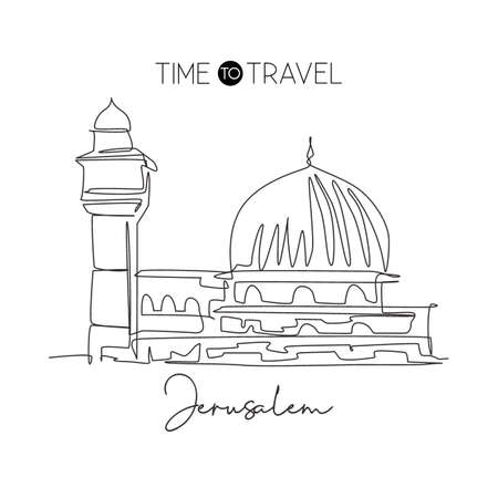 One single line drawing Al Aqsa mosque landmark. Famous iconic in Jerusalem. Tourism religious travel postcard wall decor poster print concept. Modern continuous line draw design vector illustration Illustration