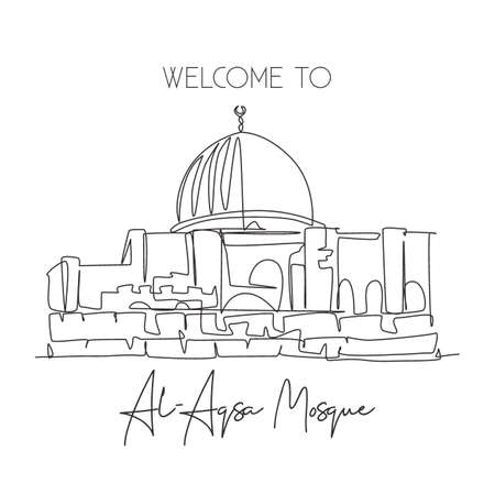 Single continuous line drawing Al Aqsa mosque landmark. Holy masjid place in Jerusalem. World travel campaign home art wall decor poster print concept. Dynamic one line draw design vector illustration