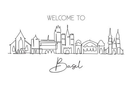 One single line drawing of Basel city skyline, Switzerland. Historical skyscraper landscape in world. Best holiday destination home wall decor. Trendy continuous line draw design vector illustration