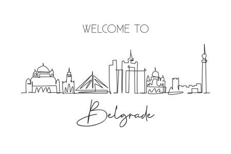 Single continuous line drawing of Belgrade city skyline, Serbia. Famous city scraper landscape. World travel concept home decor wall art poster print. Modern one line draw design vector illustration