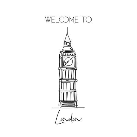 One continuous line drawing of welcome to Big Ben clock tower landmark. Beautiful iconic place in London. Home decor wall art poster print concept. Modern single line draw design vector illustration Çizim