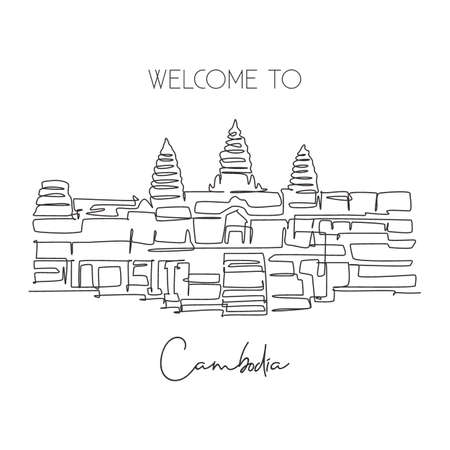 One continuous line drawing Angkor Wat Temples landmark. Iconic place in Siem Reap, Cambodia. Holiday vacation wall decor home art poster concept. Modern single line draw design vector illustration