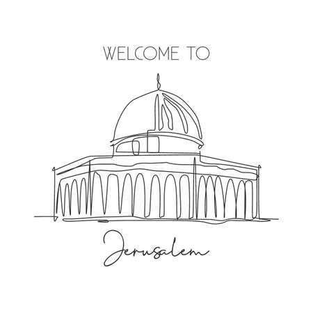 One single line drawing Dome of the Rock, Al Aqsa mosque landmark. Famous iconic in Jerusalem. Tourism postcard home wall decor poster concept. Modern continuous line draw design vector illustration