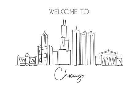 Single continuous line drawing of Chicago city skyline, USA. Famous city scraper and landscape. World travel concept home wall decor poster print art. Modern one line draw design vector illustration