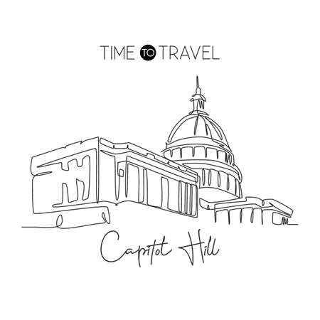 Single continuous line drawing Capitol Hill landmark. Iconic famous place in Washington DC, USA. World travel home wall decor art poster print concept. Modern one line draw design vector illustration Çizim