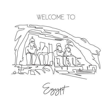 One single line drawing Abu Simbel landmark. Famous iconic in Egyptian village Nubia. Tourism travel postcard home wall decor art poster concept. Modern continuous line draw design vector illustration