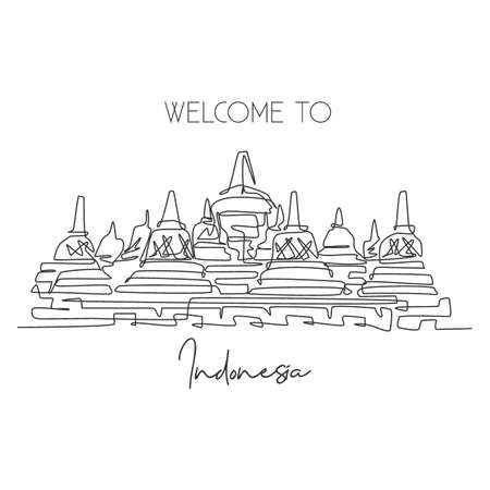 Single continuous line drawing Candi Borobudur Temple landmark. Beautiful famous place in Indonesia. World travel home wall decor poster print concept. Modern one line draw design vector illustration
