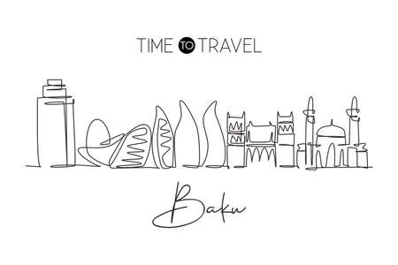 One continuous line drawing of Baku city skyline, Azerbaijan. Beautiful landmark. World landscape tourism travel vacation poster. Editable stylish stroke single line draw design vector illustration