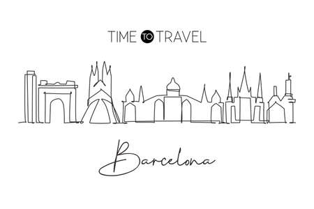 Single continuous line drawing of Barcelona city skyline, Spain. Famous city skyscraper landscape postcard. World travel concept wall decor poster art. Modern one line draw design vector illustration