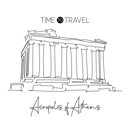 One continuous line drawing Acropolis landmark. Old historical city building in Athens, Greek. Holiday vacation wall decor art poster print concept. Modern single line draw design vector illustration