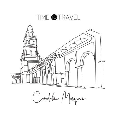 Single continuous line drawing Great Mosque of Cordoba landmark. Famous place in Andalusia, Spain. World travel campaign wall decor print art concept. Dynamic one line draw design vector illustration Çizim