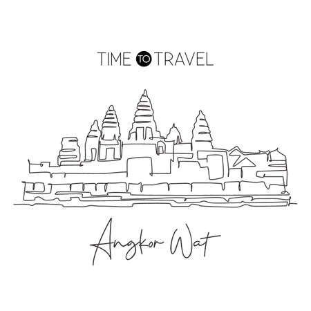 Single continuous line drawing Angkor Wat Temples landmark. Famous place in Siem Reap, Cambodia. World travel tour home art wall decor poster print. Modern one line draw design vector illustration 向量圖像