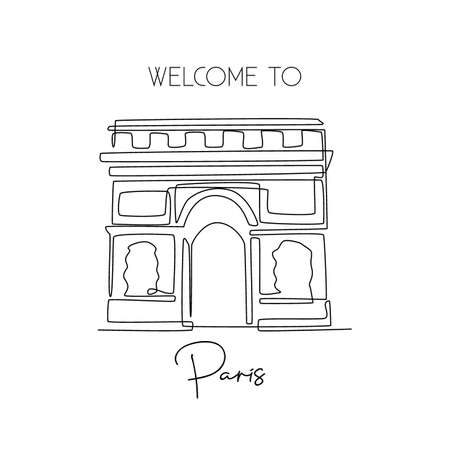 One continuous line drawing of Arc de Triomphe. Historical iconic place in Paris, France. Holiday vacation wall home decor poster print art concept. Modern single line draw design vector illustration
