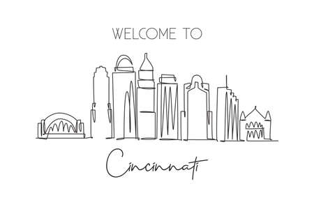 One single line drawing of Cincinnati city skyline, Ohio. Historical town landscape. Best holiday destination home wall decor art poster print. Trendy continuous line draw design vector illustration Иллюстрация