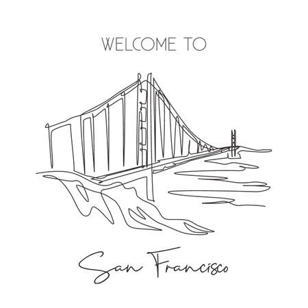 One single line drawing Golden Gate Bridge landmark. Iconic place in San Francisco, USA. Tourism travel home decor wall art poster print concept. Modern continuous line draw design vector illustration Çizim