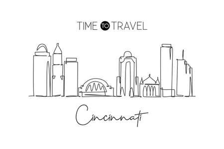 One continuous line drawing of Cincinnati city skyline, Ohio. Beautiful landmark. World landscape tourism travel vacation poster. Editable stylish stroke single line draw design vector illustration Иллюстрация