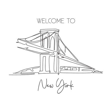 One continuous line drawing Brooklyn Bridge landmark. World beauty iconic place in New York, USA. Home wall decor art poster print concept. Modern single line draw design vector graphic illustration