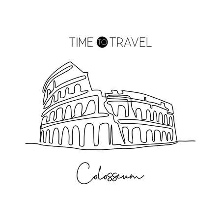 One continuous line drawing Colosseum amphitheater landmark. Historical iconic place in Rome. Holiday vacation home wall decor poster print concept. Modern single line draw design vector illustration Çizim