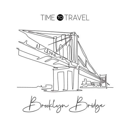 One single line drawing Brooklyn Bridge landmark. World famous place in New York City, USA. Tourism travel postcard wall decor home art poster. Modern continuous line draw design vector illustration