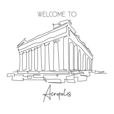 One single line drawing Acropolis temple landmark. World famous ruin in Athens, Greek. Tourism travel postcard home wall decor poster concept. Modern continuous line draw design vector illustration Vektorgrafik