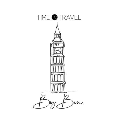 Single one line drawing Big Ben clock tower. Wall decor home art poster print of iconic place in London. Tourism and travel postcard concept. Modern continuous line draw design vector illustration Çizim