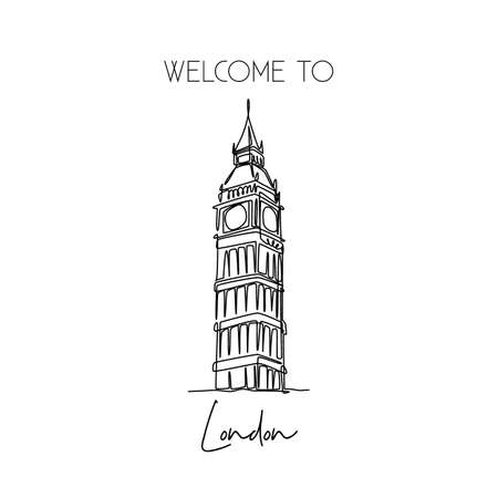 Single continuous line drawing of Big Ben clock tower landmark. Historical iconic beauty place in London. Home decor wall art poster print concept. Modern one line draw design vector illustration