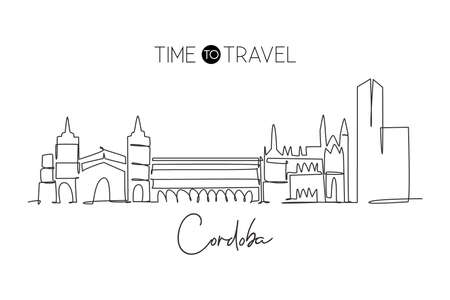 Single continuous line drawing of Cordoba city skyline, Spain. Famous skyscraper and landscape postcard. World travel wall decor poster print concept. Modern one line draw design vector illustration Çizim