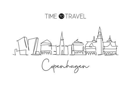 One continuous line drawing of Copenhagen city skyline, Denmark. Beautiful landmark. World landscape tourism travel vacation poster. Editable stylish stroke single line draw design vector illustration