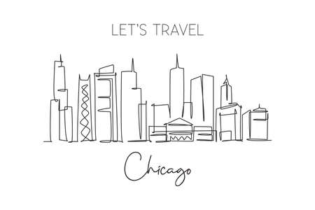 One single line drawing of Chicago city skyline, United States. Historical town landscape in the world. Best holiday destination. Editable stroke trendy continuous line draw design vector illustration Ilustração