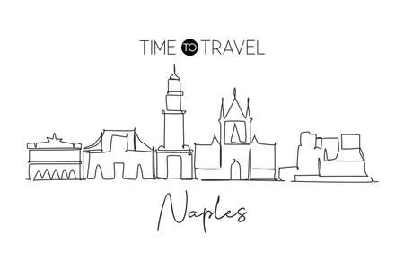 Single continuous line drawing of Naples city skyline, Italy. Famous city skyscraper landscape. World travel home wall decor poster print art concept. Modern one line draw design vector illustration
