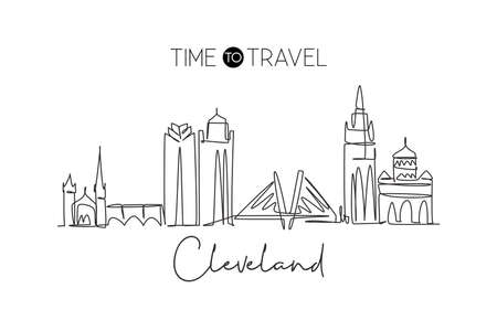 One continuous line drawing of Cleveland city skyline, United States of America. Beautiful landmark. World landscape tourism travel poster. Editable stroke single line draw design vector illustration