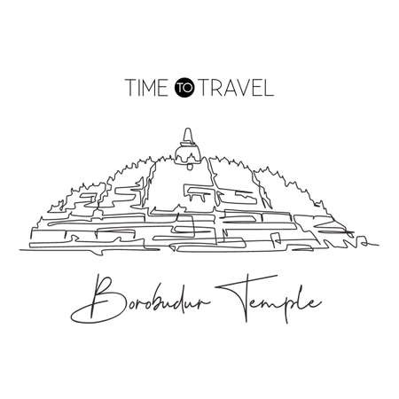 One single line drawing Candi Borobudur temple landmark. World iconic in Indonesia. Tourism travel postcard home wall decor art poster print. Modern continuous line draw design vector illustration