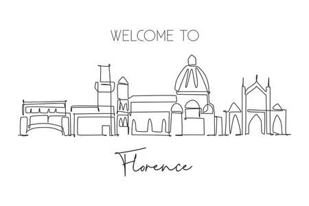 One single line drawing of Florence city skyline, Italy. Historical skyscraper landscape in world. Best holiday destination wall decor poster. Trendy continuous line draw design vector illustration 矢量图像
