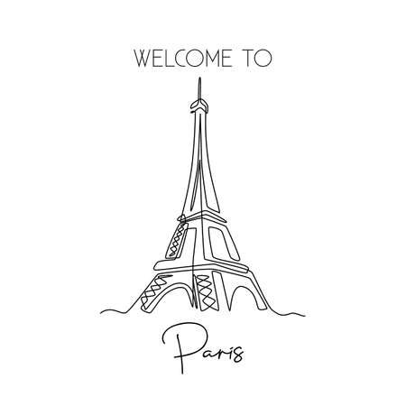 Single one line drawing of Eiffel Tower landmark wall decor poster. Iconic place in Paris, France. Tourism and travel greeting postcard concept. Modern continuous line draw design vector illustration 向量圖像