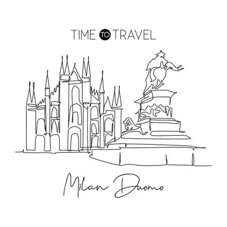Single continuous line drawing Duomo di Milano landmark. Beautiful famous place in Milan, Italy. World travel tour home wall decor art poster concept. Modern one line draw design vector illustration