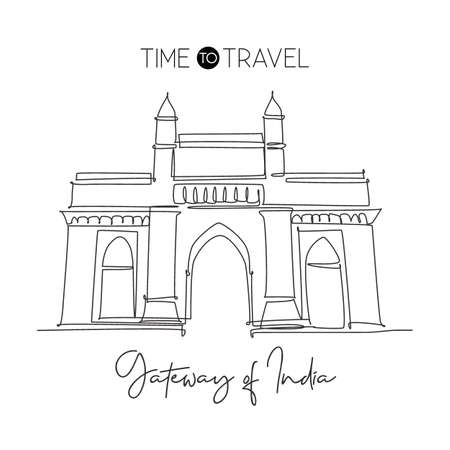 One continuous line drawing Gateway of India landmark. Monument in Mumbai India. Holiday tour and travel home wall decor art poster print concept. Modern single line draw design vector illustration