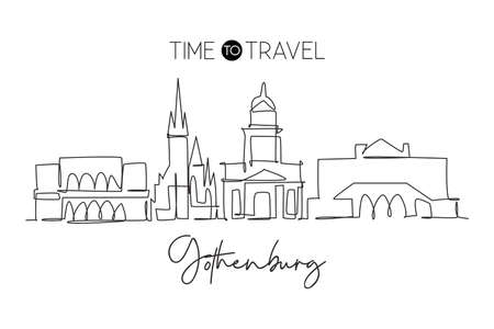 One single line drawing of Gothenburg city skyline, Sweden. Historical town landscape in the world. Best holiday destination. Editable stroke trendy continuous line draw design vector illustration 向量圖像