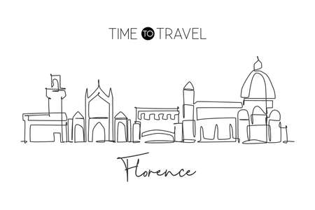 Single continuous line drawing of Florence city skyline, Italy. Famous skyscraper landscape in world. World travel concept wall decor poster print art. Modern one line draw design vector illustration 矢量图像