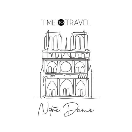 One continuous line drawing Notre Dame landmark. World iconic place in Paris, France. Holiday vacation home wall decor art poster print concept. Modern single line draw design vector illustration