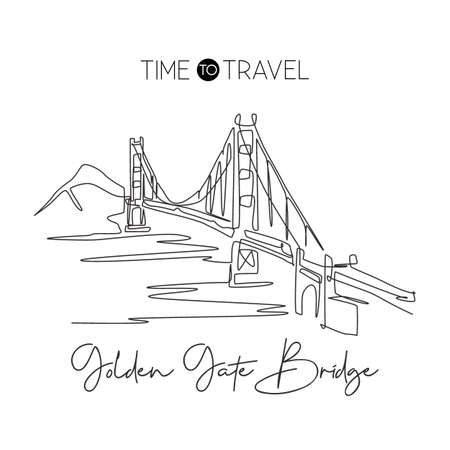 One continuous line drawing Golden Gate Bridge landmark. Iconic place in San Francisco USA. Holiday wall decor home art poster print concept. Modern single line draw design vector graphic illustration
