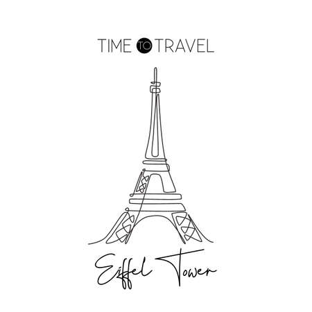 One continuous line drawing Eiffel Tower. Romantic iconic place in Paris, France. Holiday vacation home decor wall art poster print concept. Modern single line draw design graphic vector illustration