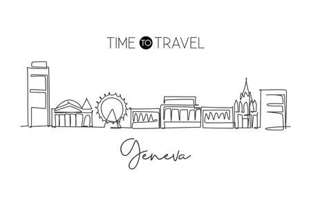 One single line drawing of Geneva city skyline, Switzerland. Historical landscape in world. Best holiday destination wall decor poster. Editable trendy continuous line draw design vector illustration