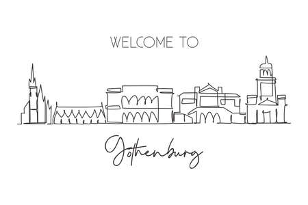 One continuous line drawing of Gothenburg city skyline, Sweden. Beautiful landmark. World landscape tourism travel home decor wall art poster print. stylish single line draw design vector illustration
