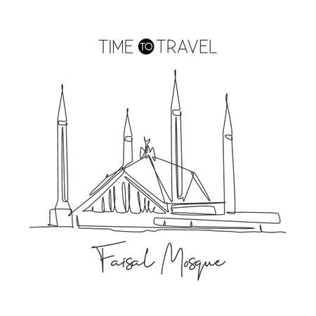 One single line drawing Shah Faisal Mosque landmark. Famous iconic in Islamabad Pakistan. Tourism travel postcard home wall decor poster concept. Modern continuous line draw design vector illustration