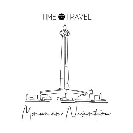 Depok, Indonesia - August 5, 2019: One single line drawing Monas landmark. Iconic place in Jakarta, Indonesia. Tourism travel postcard wall decor home art poster print concept. Vector illustration Çizim