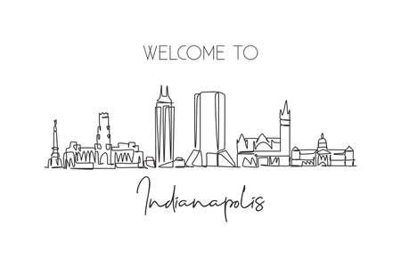 One continuous line drawing of Indianapolis city skyline, United States. Beautiful landmark. World landscape tourism travel poster. Editable stylish stroke single line draw design vector illustration Иллюстрация
