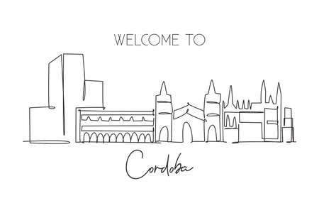 One single line drawing of Cordoba city skyline, Spain. Historical skyscraper landscape in world postcard. Best holiday destination wall decor poster. Continuous line draw design vector illustration Illustration