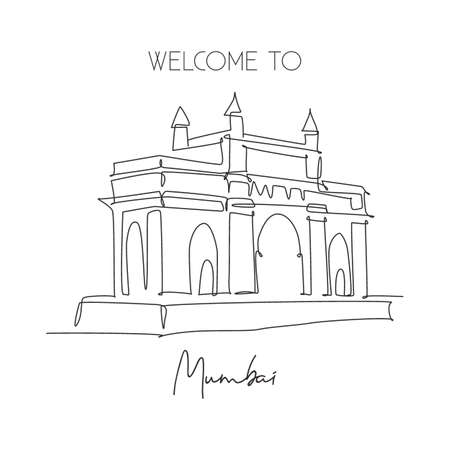 One continuous line drawing Gateway of India landmark. Symbolic monument in Mumbai India. Holiday tour travel wall decor poster print art concept. Modern single line draw design vector illustration Ilustração