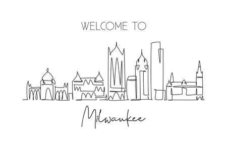 One single line drawing of Milwaukee city skyline, USA. Historical town landscape. Best holiday destination home wall decor poster print art. Trendy continuous line draw design vector illustration
